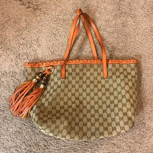 Gucci classic signature orange Tote Bag